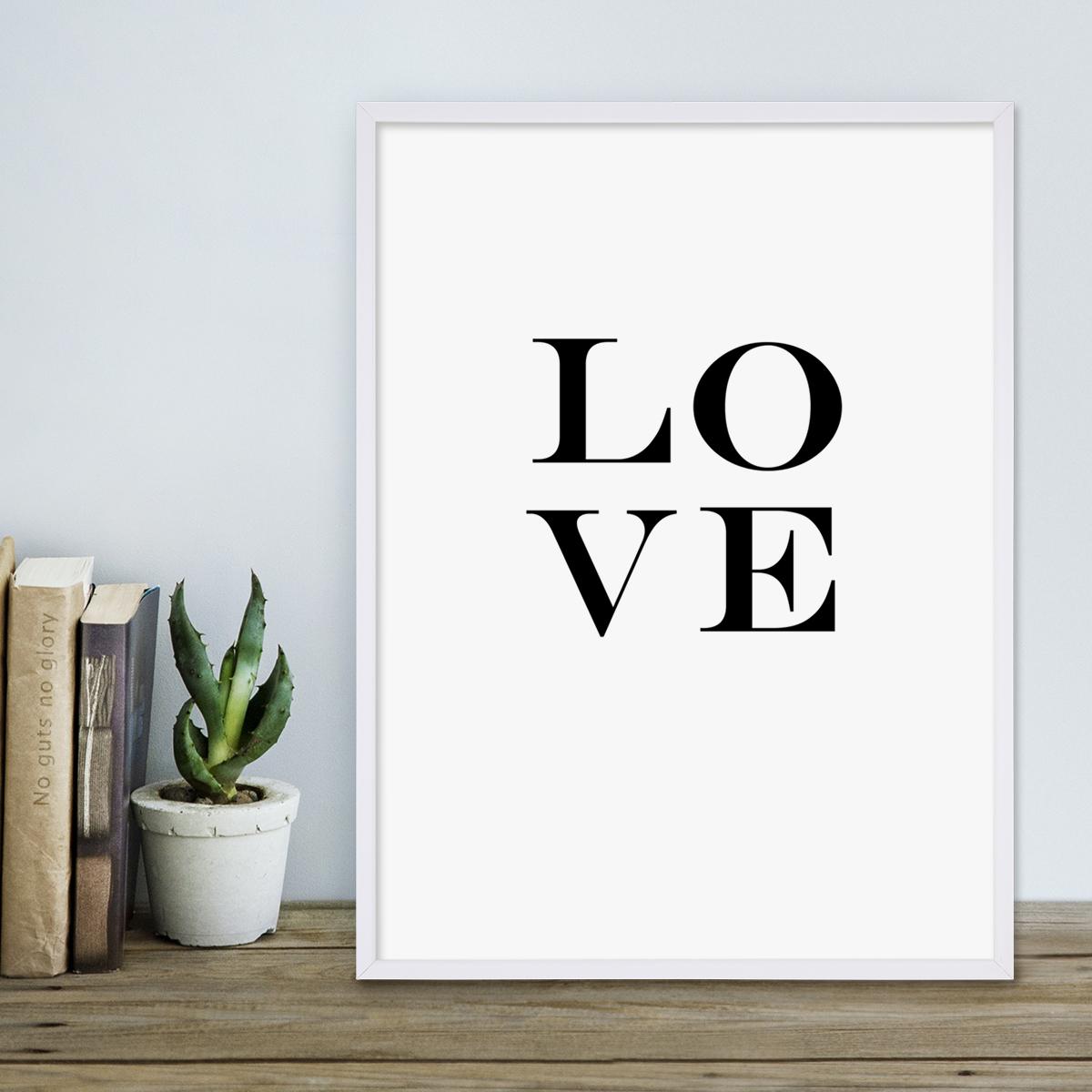 Design-Poster mit Bilderrahmen Weiss \'Love Letters\' 30x40 cm schwarz ...