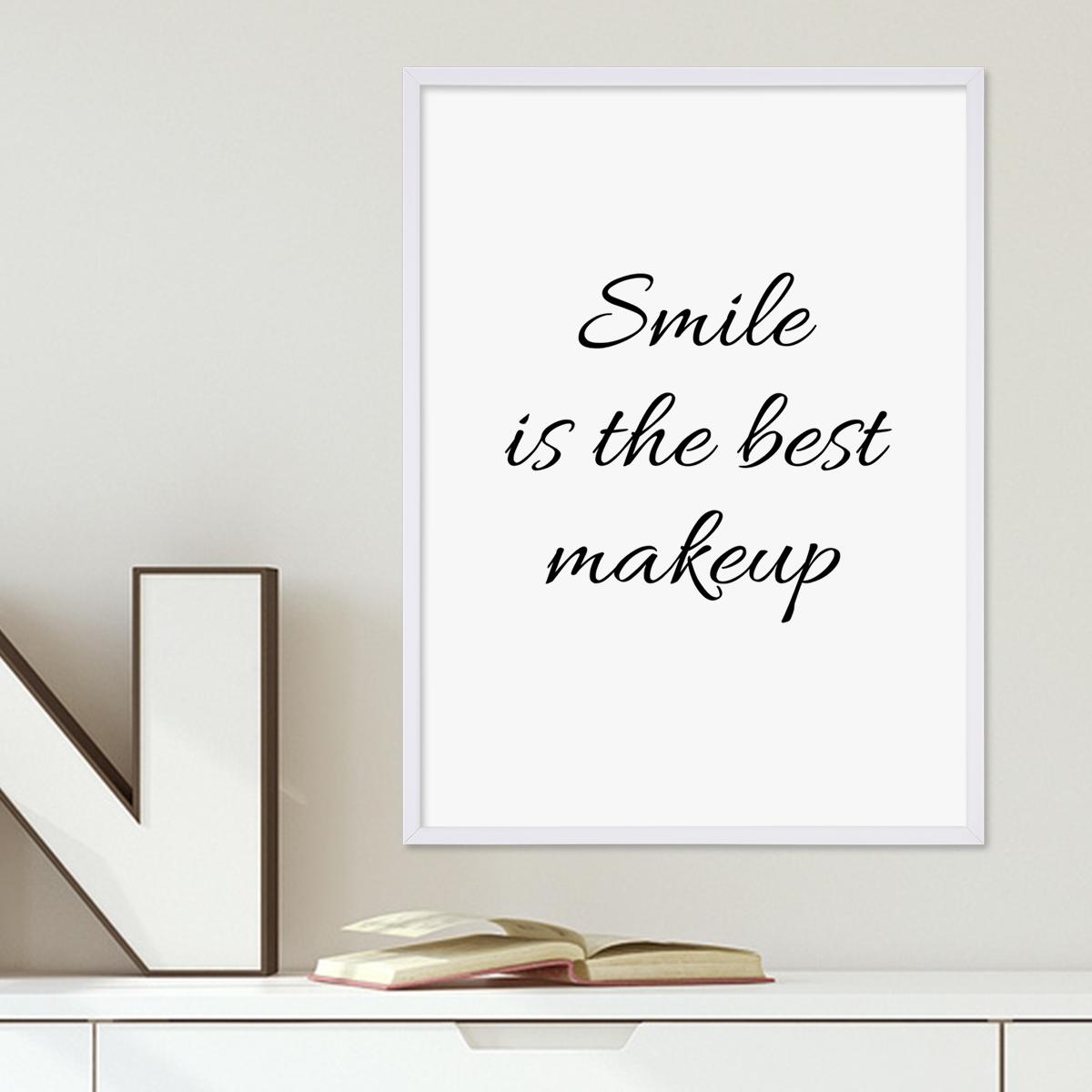poster mit bilderrahmen weiss 39 smile 39 30x40 cm schwarz. Black Bedroom Furniture Sets. Home Design Ideas