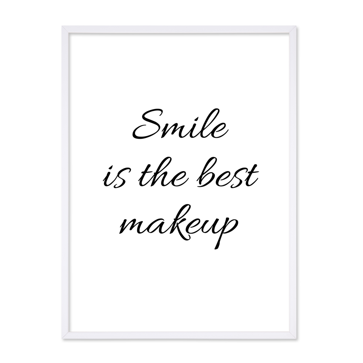 poster mit bilderrahmen weiss 39 smile 39 30x40 cm schwarz weiss motiv spruch typopgraphie poster. Black Bedroom Furniture Sets. Home Design Ideas
