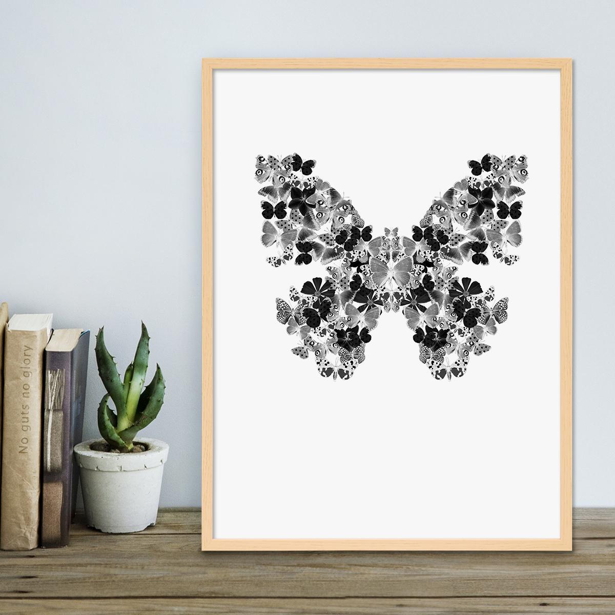 design poster mit bilderrahmen natur 39 schmetterling 39 30x40 cm schwarz weiss motiv natur rahmen. Black Bedroom Furniture Sets. Home Design Ideas