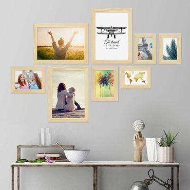 8er Bilderrahmen-Collage Basic Collection, Modern, Kiefer, Massivholz, inklusive Zubehör / Foto-Collage / Bildergalerie / Bilderrahmen-Set