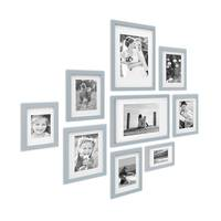 9er Bilderrahmen-Set Modern Tief Massivholz Grau mit Passepartout