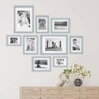 9er Bilderrahmen-Set Modern Tief Massivholz Grau mit Passepartout  / 10x15, 13x18, 15x20 und 21x30 cm / Fotorahmen / Portraitrahmen / Wechselrahmen – Bild 4