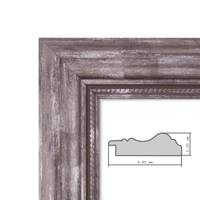 Bilderrahmen 50x70 cm Silber Barock Breit Massivholz mit Acrylglas inkl. Zubehör / Fotorahmen / Barock-Rahmen   – Bild 3