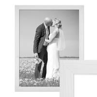Bilderrahmen 50x60 cm Weiss Modern Massivholz-Rahmen mit Maserung mit Glasscheibe und Zubehör / Fotorahmen  – Bild 1