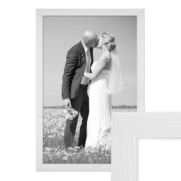Bilderrahmen 50x70 cm Weiss Modern Massivholz-Rahmen mit Maserung m. Acrylglas inkl. Zubehör / Fotorahmen
