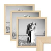 3er Set Bilderrahmen 30x30 cm Kiefer Natur Modern Massivholz-Rahmen mit Glasscheibe und Zubehör / Fotorahmen – Bild 1