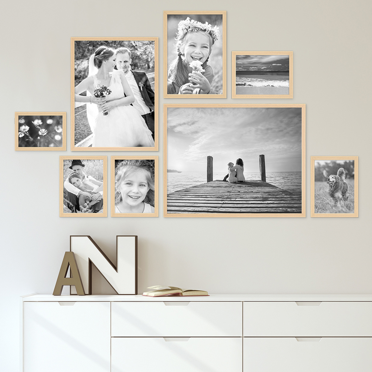 Set of 20 Picture Frames Modern with acrylic glass   Natural   Picture ...
