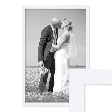 Bilderrahmen 40x60 cm Weiss Modern aus MDF mit Glasscheibe und Zubehör / Fotorahmen