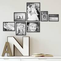 7er Set Alu-Bilderrahmen 10x15 bis 21x30 cm Modern Schwarz Aluminium-Rahmen mit Acrylglas / Bildergalerie / Foto-Collage