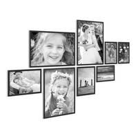 8er Set Alu-Bilderrahmen 10x15 bis 21x30 cm Modern Schwarz Aluminium-Rahmen mit Acrylglas / Bildergalerie / Foto-Collage
