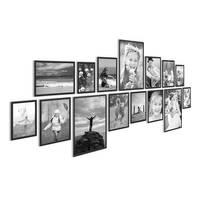 15er Set Alu-Bilderrahmen 10x15 bis 21x30 cm Modern Schwarz Aluminium-Rahmen mit Acrylglasscheibe inkl. Zubehör / Bildergalerie / Foto-Collage
