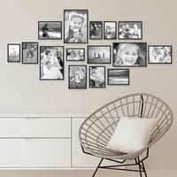 15er Set Alu-Bilderrahmen 10x15 bis 21x30 cm Modern Schwarz Aluminium-Rahmen mit Acrylglas / Bildergalerie / Foto-Collage – Bild 6