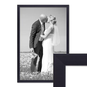 Bilderrahmen 40x60 cm Schwarz Modern aus MDF mit Glasscheibe und Zubehör / Fotorahmen