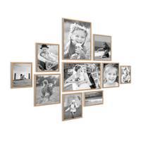 10er Set Alu-Bilderrahmen 10x15 bis 21x30 cm Modern Gold Aluminium-Rahmen mit Acrylglas / Bildergalerie / Foto-Collage