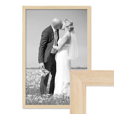 Bilderrahmen 40x60 cm Kiefer Natur Modern Massivholz-Rahmen mit Glasscheibe und Zubehör / Fotorahmen