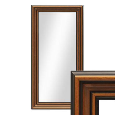 Wand-Spiegel 40x70 cm im Holzrahmen Antik Breit Dunkelbraun / Spiegelfläche 30x60 cm