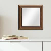 Wand-Spiegel 50x50 cm im Holzrahmen Antik Breit Dunkelbraun Quadratisch / Spiegelfläche 40x40 cm – Bild 2