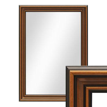 Wand-Spiegel 60x80 cm im Holzrahmen Antik Breit Dunkelbraun / Spiegelfläche 50x70 cm