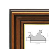 Wand-Spiegel 40x40 cm im Holzrahmen Antik Breit Dunkelbraun mit Goldkante Quadratisch / Spiegelfläche 30x30 cm – Bild 5
