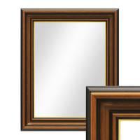 Wand-Spiegel 40x50 cm im Holzrahmen Antik Breit Dunkelbraun mit Goldkante / Spiegelfläche 30x40 cm