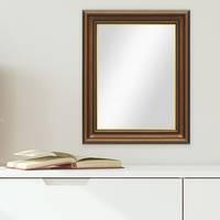 Wand-Spiegel 50x60 cm im Holzrahmen Antik Breit Dunkelbraun mit Goldkante / Spiegelfläche 40x50 cm – Bild 3