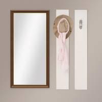 Wand-Spiegel 60x110 cm im Holzrahmen Antik Breit Dunkelbraun mit Goldkante / Spiegelfläche 50x100 cm – Bild 2