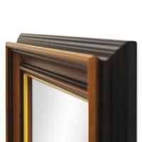 Wand-Spiegel 60x110 cm im Holzrahmen Antik Breit Dunkelbraun mit Goldkante / Spiegelfläche 50x100 cm – Bild 3