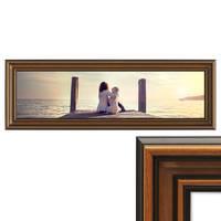 Panorama-Bilderrahmen 30x90 cm Antik Breit Dunkelbraun Massivholz mit Acrylglasscheibe