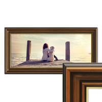 Panorama-Bilderrahmen 30x60 cm Antik Breit Dunkelbraun mit Goldkante Massivholz mit Glasscheibe inkl. Zubehör – Bild 1