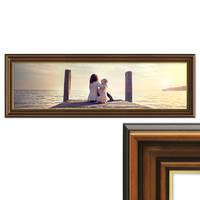 Panorama-Bilderrahmen 30x90 cm Antik Breit Dunkelbraun mit Goldkante Massivholz mit Acrylglasscheibe