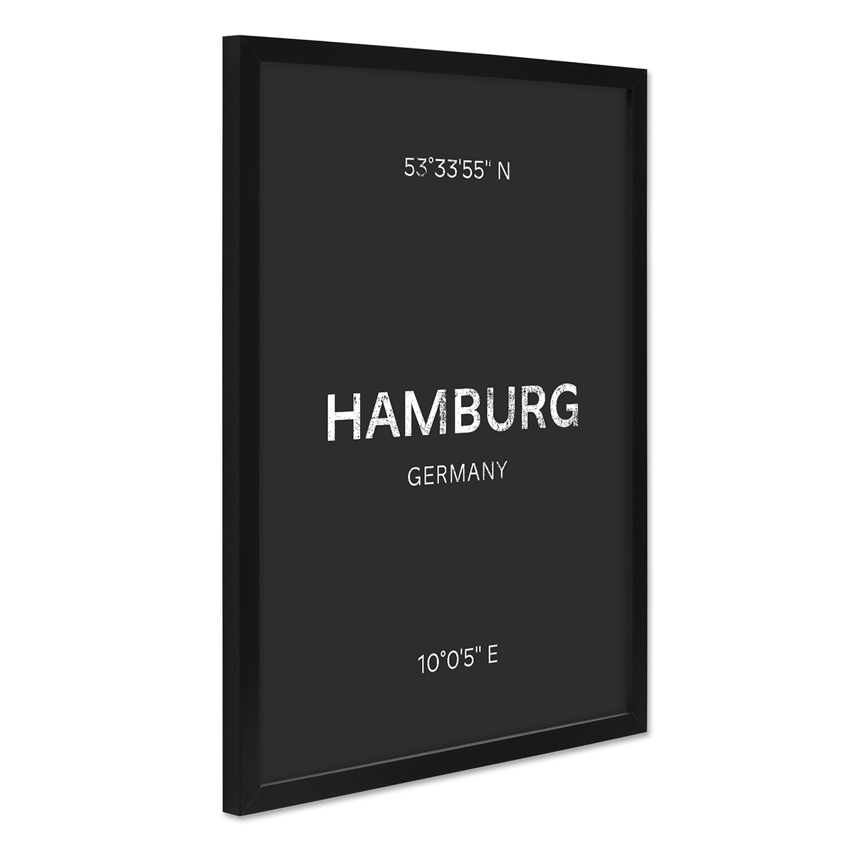 design poster mit bilderrahmen schwarz 39 hamburg 39 30x40 cm schwarz weiss karte typografie modern. Black Bedroom Furniture Sets. Home Design Ideas