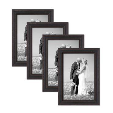 4er Set Bilderrahmen 21x30 cm / DIN A4 Shabby-Chic Landhaus-Stil Dunkelbraun Massivholz mit Glasscheibe und Zubehör / Fotorahmen