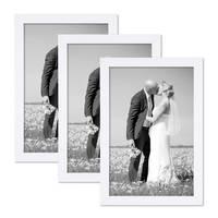 3er Set Bilderrahmen 21x30 cm / DIN A4 Weiss Modern aus MDF mit Glasscheibe und Zubehör / Fotorahmen  – Bild 1