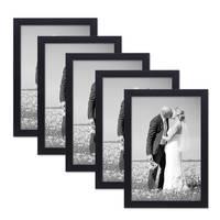 5er Set Bilderrahmen 21x30 cm / DIN A4 Schwarz Modern aus MDF mit Glasscheibe und Zubehör / Fotorahmen  – Bild 1