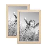2er Set Bilderrahmen 21x30 cm / DIN A4 Kiefer Natur Modern Massivholz-Rahmen mit Glasscheibe und Zubehör / Fotorahmen  – Bild 1