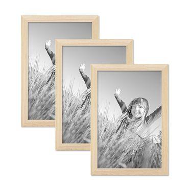 3er Set Bilderrahmen 21x30 cm / DIN A4 Kiefer Natur Modern Massivholz-Rahmen mit Glasscheibe und Zubehör / Fotorahmen