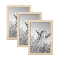 3er Set Bilderrahmen 21x30 cm / DIN A4 Kiefer Natur Modern Massivholz-Rahmen mit Glasscheibe und Zubehör / Fotorahmen  – Bild 1