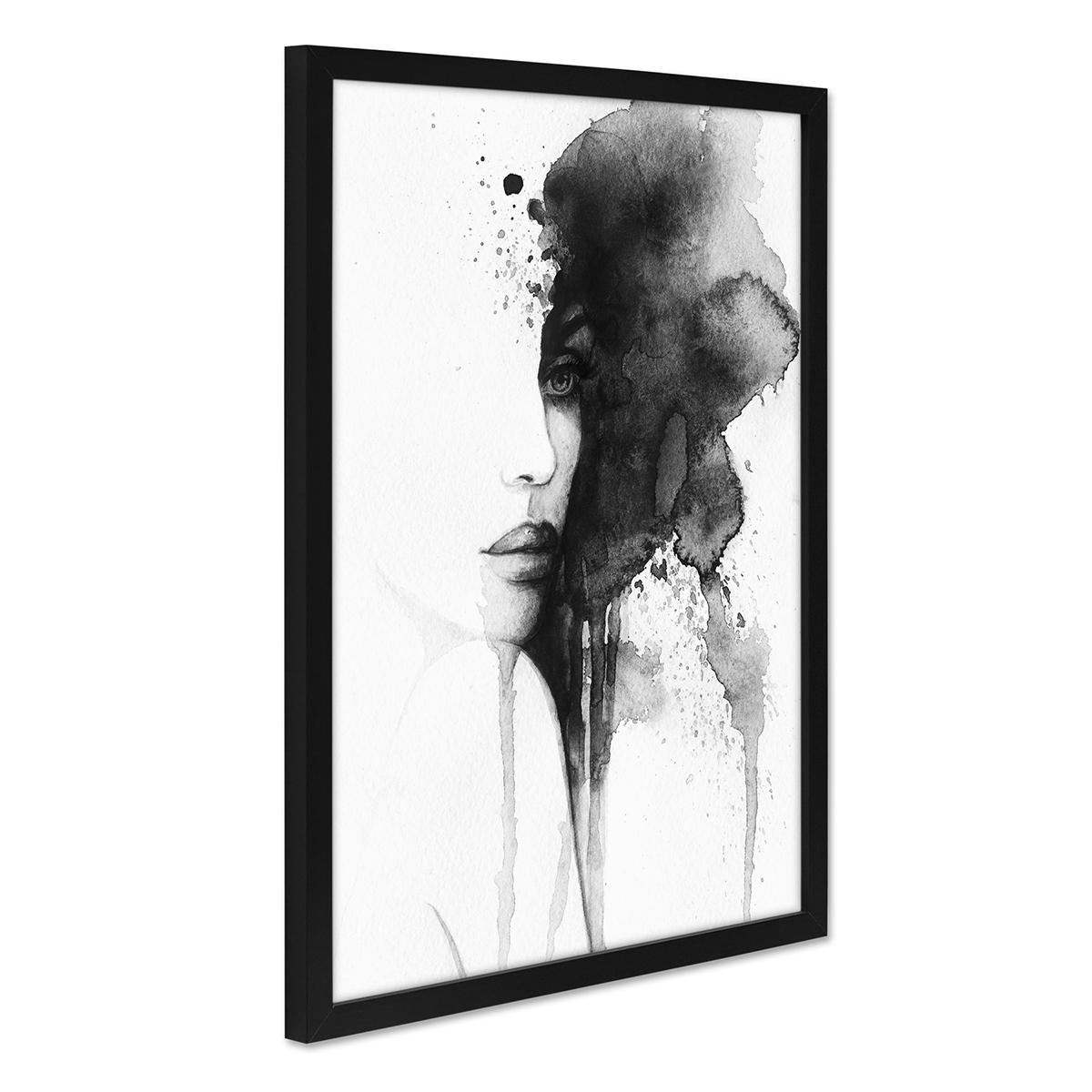 Design-Poster mit Bilderrahmen Schwarz \'Aquarell Frau\' 30x40 cm ...