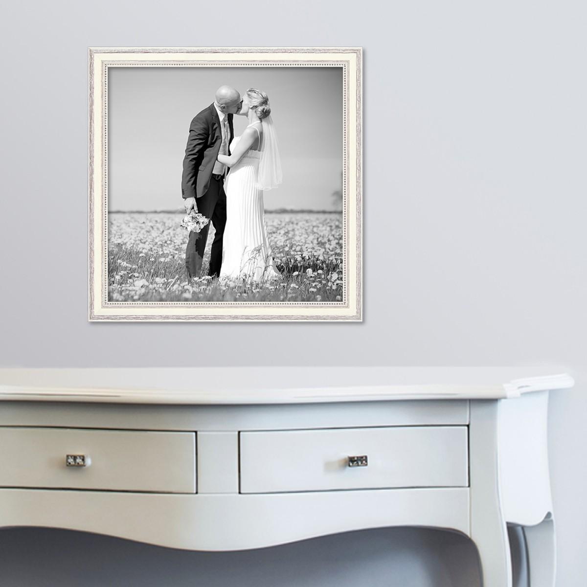 bilderrahmen shabby chic landhaus stil weiss 40x40 cm massivholz mit glasscheibe und zubeh r. Black Bedroom Furniture Sets. Home Design Ideas