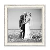 Bilderrahmen Shabby-Chic Landhaus-Stil Weiss 50x50 cm Massivholz mit Glasscheibe und Zubehör / Fotorahmen – Bild 4