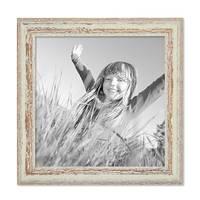 Vintage Bilderrahmen 30x30 cm Weiss Shabby-Chic Massivholz mit Glasscheibe und Zubehör / Fotorahmen / Nostalgierahmen  – Bild 4