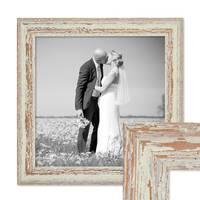Vintage Bilderrahmen 30x30 cm Weiss Shabby-Chic Massivholz mit Glasscheibe und Zubehör / Fotorahmen / Nostalgierahmen