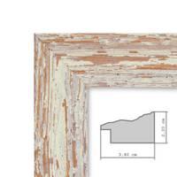 Bilderrahmen 50x50 cm Weiss Shabby-Chic Vintage Massivholz mit Glasscheibe und Zubehör / Fotorahmen / Nostalgierahmen  – Bild 3