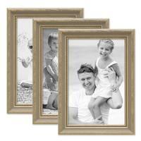 3er Bilderrahmen-Set 21x30 cm / DIN A4 Grau Shabby-Chic Landhaus-Stil