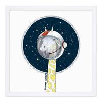 Kinder-Poster 'Giraffe' 30x30 cm Kinderzimmer-Poster Cartoon Tier-Bild Zeichnung Astronaut – Bild 3