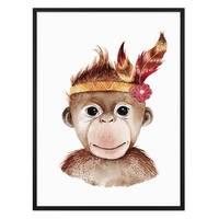 Kinder-Poster Affe Aquarell 30x40 cm mit Bilderrahmen Schwarz