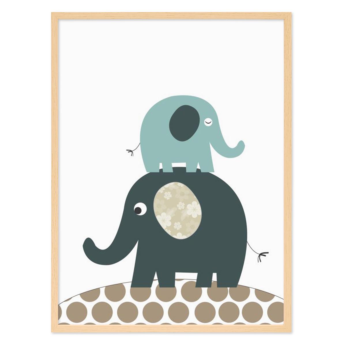 kinder poster mit bilderrahmen natur 39 elefanten 39 30x40 cm kinderzimmer poster blau tier bild. Black Bedroom Furniture Sets. Home Design Ideas
