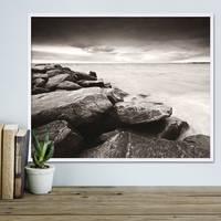 Poster Küste 40x50 cm schwarz-weiss Motiv Natur Landschaft Maritim