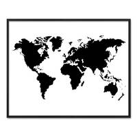 Poster 'Weltkarte' 40x50 cm schwarz-weiss Motiv XXL Landkarte Erde – Bild 3